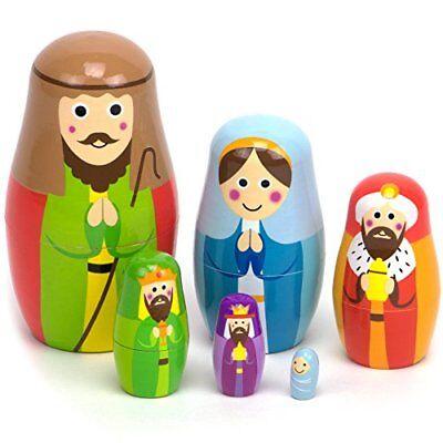 Nesting Nativity Wood Nesting Doll Matroshka Set with 6 Dolls