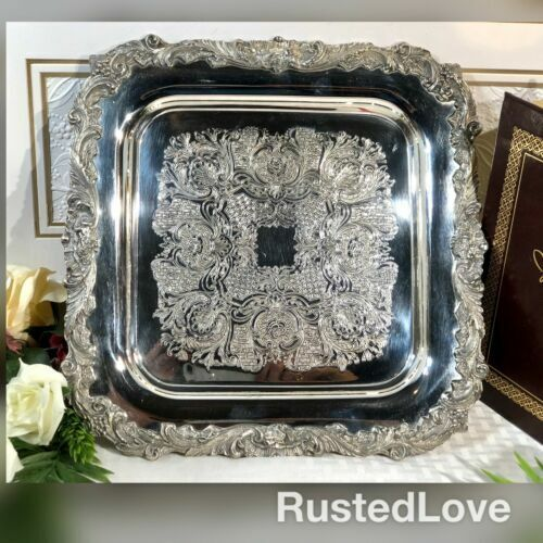 "Sheffield Square Silver plated Serving tray ""English Baroque"" Etched 12 Inch"