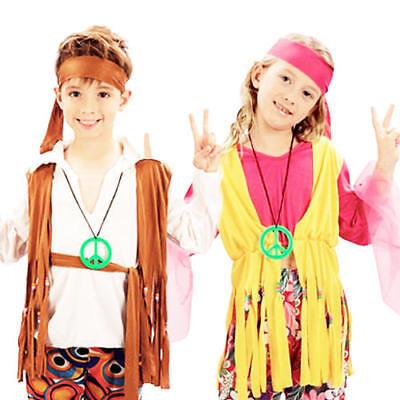 Hippy Kids Boys or Girls Costume 1960s Hippie 60s 70s Childs Fancy Dress Up 4-12
