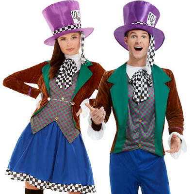 Mad Hatter Adults Fancy Dress Wonderland Fairy Tale Mens Ladies Book Day - Mens Fairy Costumes
