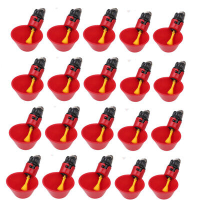 20 Pack Poultry Water Drinking Cups-chicken Hen Automatic Drinkers Container Red