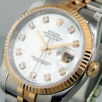ROLEX DATEJUST 116231 STEEL PINK GOLD JUBILEE WHITE MOTHER OF PEARL