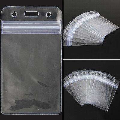 10pcs Vertical Transparent Vinyl Plastic Clear Id Card Badge Holder With Zipper