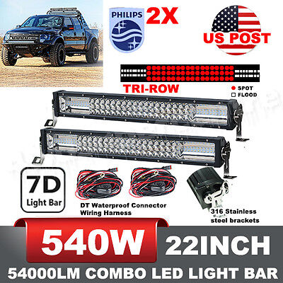 2X PHILIPS Tri-row 22INCH 540W LED CURVED LIGHT BAR OFFROAD + WIRING KIT VS 280W