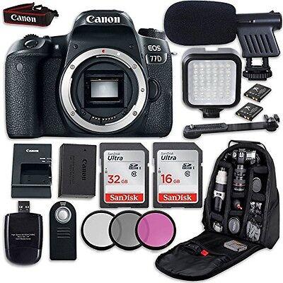 Canon EOS 77D DSLR Camera  + LED Light + Microphone + Video