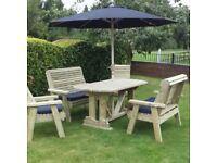 Wooden Garden Furniture Tanalised Garden Table Bench Chair set Patio Set 6 seater