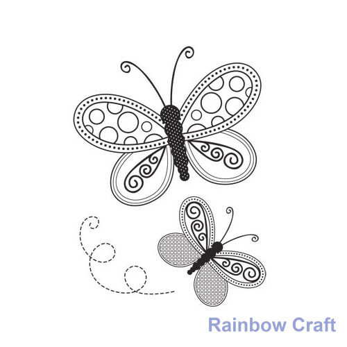 Kaisercraft mini stamps - 26 wording / patterns Scrapbooking card making - Butterflies