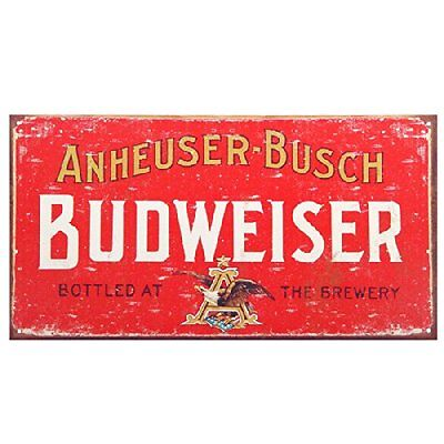 Anheuser Busch Budweiser Beer Weathered Distressed Retro Metal Tin Sign