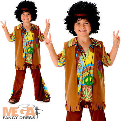 70s Costumes For Boys (Boys Hippie Fancy Dress 1960s 70s Groovy Childs Childrens Kids Hippy Costume)