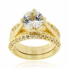 Ladies CZ Diamond Bridal Wedding 18k yellow Gold Silver Ring Set Slacks Creek Logan Area Preview