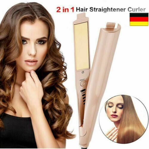 2-in-1 Curl&Straight Twist Hair Glätteisen Lockenstab Lockenwickler Waver De