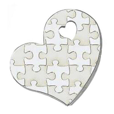 Puzzle Piece Heart Autism Awareness Curved Stainless Steel Pendant Necklace - Puzzle Piece Heart