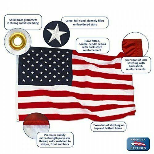 American Flag 3x5 ft Nylon SolarGuard NylGlo by Annin Flagma