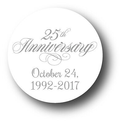 25th Wedding Anniversary Party Favor Stickers - personalized with date (25th Anniversary Party Supplies)