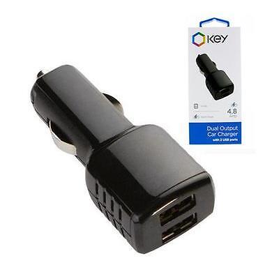 Key, High Quality 2 Port USB Car Charger, Rapid Charging 2.4 Amp Per Port