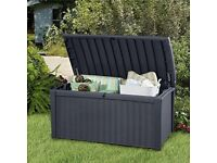 New Keter Borneo Rattan Effect Garden Storage Box - 400L Free Delivery and Assembly