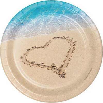 WEDDING AND BRIDAL Beach Love SMALL PAPER PLATES (8) ~Birthday Party Supplies - Beach Paper Plates