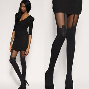 Sexy mock suspender(3 straps) stocking tights pantyhose Stockings Leggings black