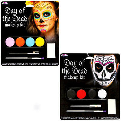 Day of the Dead Make-Up Kit Fancy Dress Halloween Skull Facepaint Adults Costume