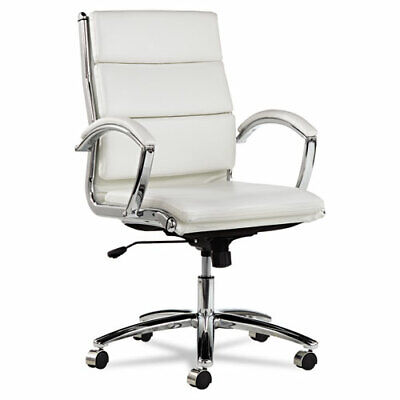 Lot Of 8 White Leather Conference Room Table Chairs With Padded Arms
