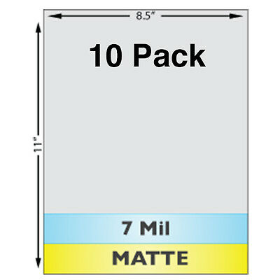 7 Mil Matte Full Sheet 8.5 X 11 Laminates - 10 Pack - Use With Teslin Id