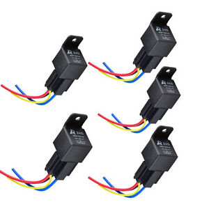 New 5 Pack Car Truck 12V 40A 40 AMP Relays SPST Relay & Socket 4Pin 4P AU Stock