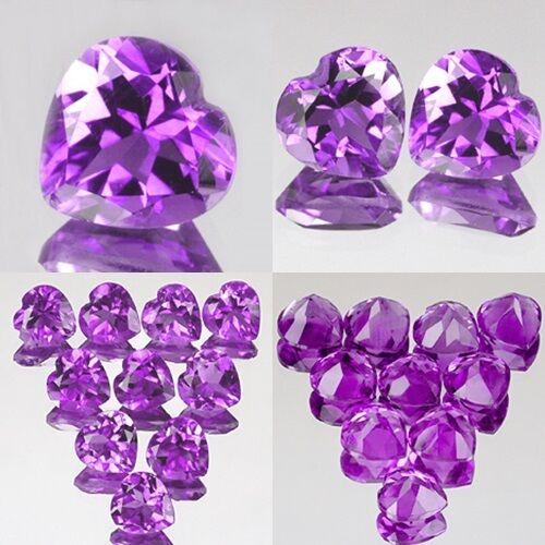 4mm Lot 1,2,10pcs Heart Cut Natural AA Purple AFRICA AMETHYST