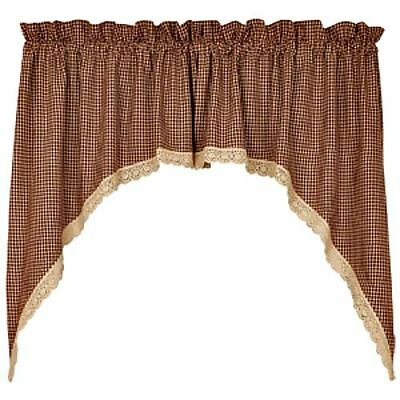 Country Gingham (New Primitive Country Gingham Burgundy & Tan Check Lace Trim Curtain Cafe)