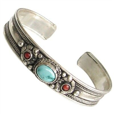 Tibetan Turquoise Garnet Red Coral 3 Gemstone Carved Sacred Dorje Cuff Bracelet