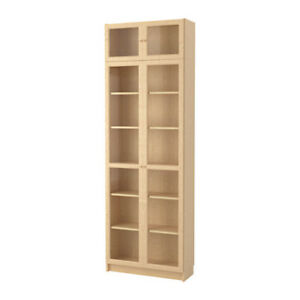 Three IKEA Bookshelves with Glass Doors