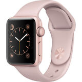 NEW APPLE WATCH SERIES 1 38MM ROSE GOLD ALUMINUM CASE PINK SAND SPORT BAND