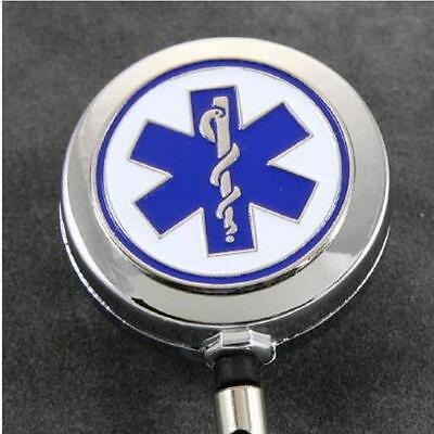 Chrome Emergency Technician EMT Medical Security ID Card Badge Holder Reel