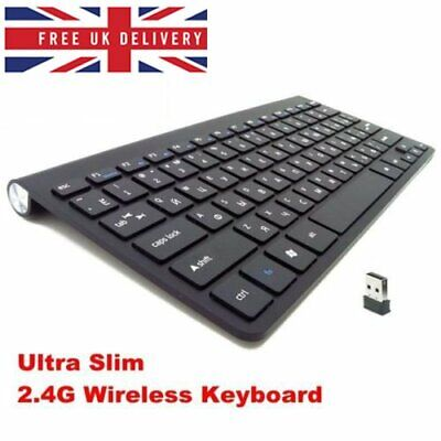 Black Wireless Keyboard 2.4G Ultra Slim USB Keyboard for PC Laptop With 78 Keys