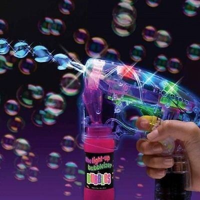 Led Bubble Gun Wholesale (3 PACK Kids Light Up LED Bubble Gun Blower Machine Toy Blaster Summer)