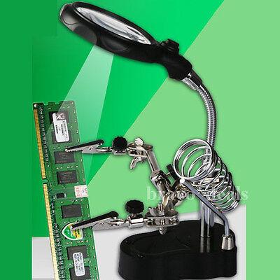 Platinenhalter Löthilfe Dritte Hand Lupe mit Halte Klemmen LED Licht 3,5/12 Fach