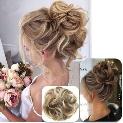 Women Girls Fashion Bun Wig Ring Scrunchy Hair Band Use Easi