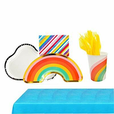 Ipalmay 114 Piece Rainbow Theme Party Supplies Set Disposable Tableware Kit I...