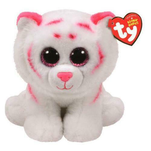 """TY Beanie Boo Tabor White Tiger Pink Spots 7"""" Collectible Pl"""