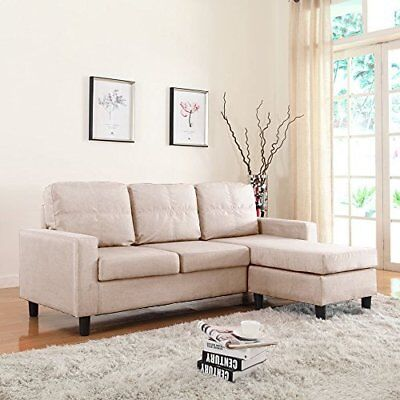 Fresh Living Room Couch Small Space Reversible Fabric Sectional Sofa, Beige