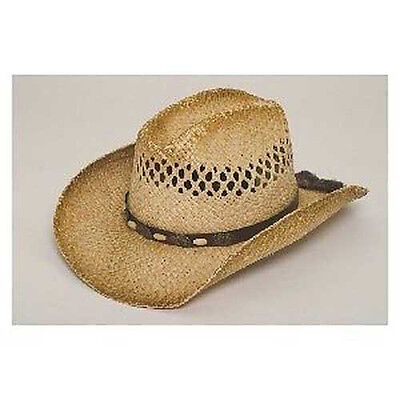 Shapeable Distressed Raffia Straw Western Cowboy HAT w/ Wood Bead & Conch Band Distressed Straw Cowboy Hat