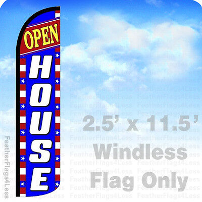Open House - Windless Swooper Feather Flag Banner Sign 2.5x11.5 - Bz