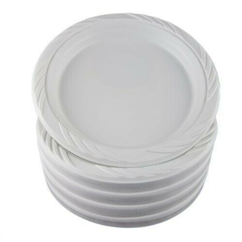 "100 White 9"" Plastic Party Plates Disposable Dinner Wedding Microwavable Dishes"