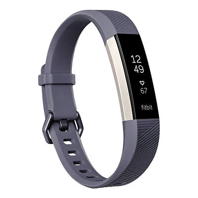 Fitbit Alta HR Activity Tracker Wristband With Heart Rate Large Blue/Gray