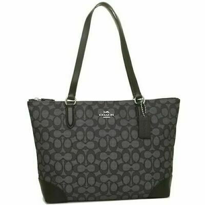 New Authentic Coach F29958 Zip Top Tote Jacquard Shoulder Purse Handbag Black