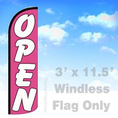 Open Windless Swooper Flag 3x11.5 Feather Banner Sign - Pq