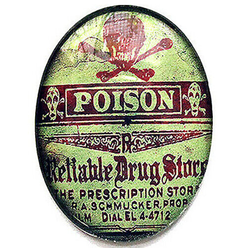 Poison Label Glass Cameo Cabochon Jewelry Supplies 40x30mm Gothic Steampunk Cab