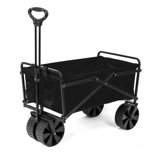 Seina Collapsible Steel Frame Utility Beach Wagon Outdoor Cart, Black (Used)