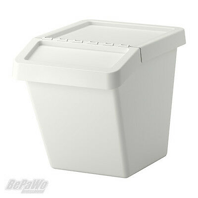 IKEA SORTERA Abfalleimer mit Deckel Funktionskorb Abfalltrennung Abfall weiß 60L