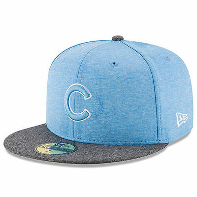 New Era Chicago Cubs Heather Blue 2017 Fathers Day 59Fifty Fitted Hat   Mlb