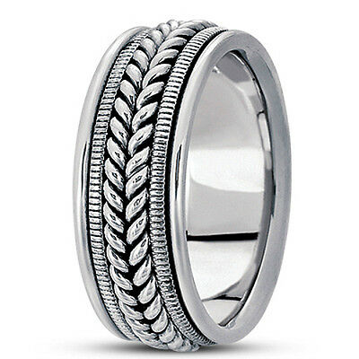 NEW LADIES 14k WHITE GOLD HAND MADE FISH BRAIDED WEDDING BAND RING 7mm SIZE 6 ()